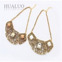 2014 New Fashion Elegant Gold Alloy Hollow Cubic Crystal Big Bronze Metal Choker Necklace For Women N1591 N1592