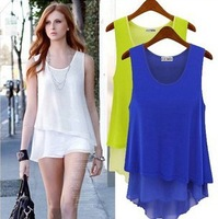 Free Shipping 2014 Fshion Women's Big Size T-shirt Candy Colors Chiffon Loose Shirt Elegance Lady Blouses T-0005