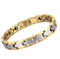 FINE JEWELRY Tungsten Carbide Bracelets Men's Chain tungsten steel energy magnetic Jewellery gold plated free shipping