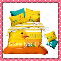B. DUCK Cotton Children 3pcs Bedding Set Pink Kid Single Bed Size Free Shipping