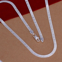 """""""I LOVE YOU"""" Fashion sterling silver jewelry 4mm men's snake chain necklace women jewelry 20 inches 925 necklace for women"""