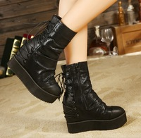 HS 12-10 New Design Hot Europe Style Fashion Inside Increased Ankle Boots Black Solid Sexy Lady's Casual Lace Platforms Shoes