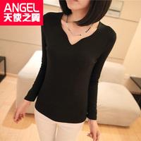 Spring 2014 long design black basic shirt female long-sleeve shirt clothes t-shirt women's long-sleeve T-shirt upperwear