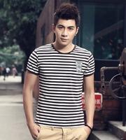 2014 Summer T-Shirt Fashion Navy Style stripe Male  Tight Short-Sleeve
