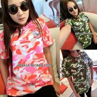 Thai pink women HARAJUKU lovers sisters equipment ami Camouflage short-sleeve T-shirt short-sleeve women's  free shipping
