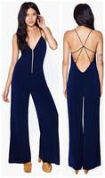 Back hambrough cross deep V-neck racerback slim loose pants navy blue jumpsuit