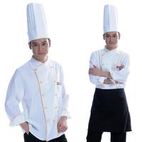 [10 pcs] 35 work wear cloth buckle cook suit long-sleeve cook suit kitchen clothes  cooker long shirt free ship print logo