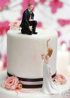 Reaching Bride Helpful Groom Funny Wedding Cake Toppers