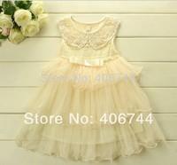 pink/cream, girl three layers ruffle dress, WM07