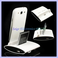 3 IN 1 Dual Cradle Battery Charger And OTG Dock Station For Samsung Galaxy S3 S4 I9300 I9500