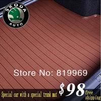 Free shipping Skoda  trunk mat  For Octavia /Fabia/Superb  High quality Microfiber leather trunk mat