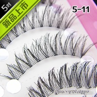 Free shipping  HANDMADE 5 Pair  False Eyelashes NATURAL curling eyelashes  BLACK 5-11