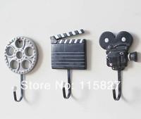 New Arrival! 3pcs/lot Creative Coat Hook Wall Hanger Film Equipment Design Wall Decoration Hook Hot Selling