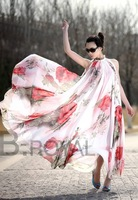 2014 new arrival Women Big Hem Summer Elegant  Lotus Leaf Chiffon printing  Maxi Long Dress bohemia dress