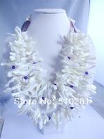 Fashion White Shell Purple Jade Flower necklace No-066