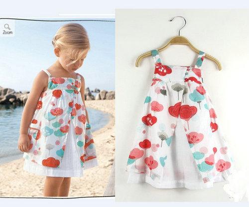 summer fashion casual high quanlity baby girl dress princess print sleeveless lovely flower girls dresses(China (Mainland))