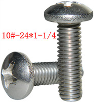 A2 stainless steel semi-circular pan head cross recessed screws 10#-24*1-1/4