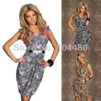 new arrival 2014 fashion women leopard printed sleeveless V neck sexy club party dress casual mini dress