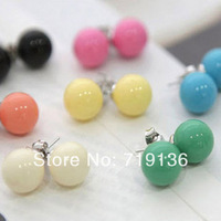 Korean jewelry factory wholesale candy QQ ball earrings earrings diamond earrings cute girl free shipping ED001