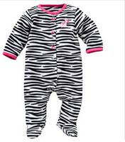 Brand Carter's Baby girl's retail microfleece zebra jumpsuit bebe one piece