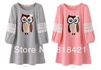 2014 100% cotton female t-shirt sweet gentlewomen cutout owl patchwork print loose plus size female t