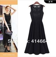2014 Women's Fashion Elegant Irregular Hem Chiffon Casual Sleeveless Dress New 3 Colors for choice 1pcs/lot Free Shipping