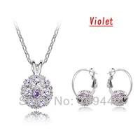 Wholesale 6sets/lot Bridal Shamballa Earrings Necklace Set Fashion Jewelry with Crystal Rhinestone  GJS133