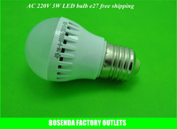 High brightness AC220V 3W high power warm white/pure white led bulb e27 light lamp Good quality!100pcs/lot  Free fedex