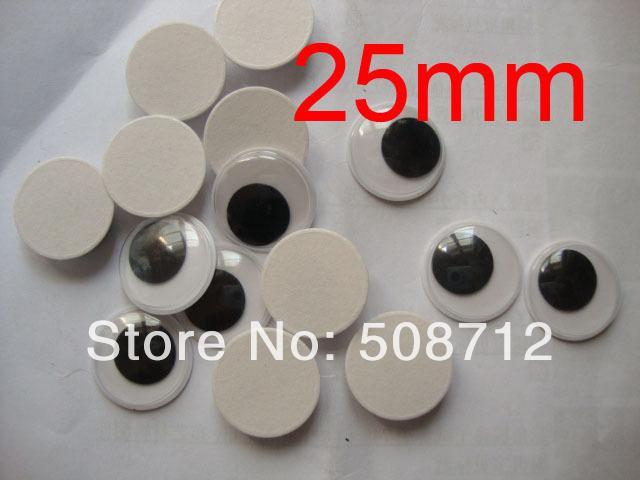Free Ship!! Diy manual toy eyes ------25mm 200pcs Joggle Moveable Black Eye Wiggly Google Googly Eyes Craft Scrapbooking(China (Mainland))