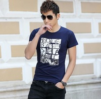 2014 Hot! Mens Clothes New Style Pure Color Slim English Letters Printing Basic Short Sleeve  T-Shirts