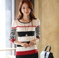New 2014 Spring Autumn Korean Style Women Slim striped bottoming pullover sweater t-shirts