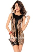 The new summer 2014 leopard joining together cultivate one's morality dress