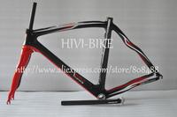 2014 carbon bicycle frameset ,743 full carbon road frame+fork+seatpost+headset+clamp,black/red
