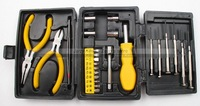 1 set - Household Tools Kit / 25 in 1 Tools set - Pliers+Screwdriver+Bits + Case - Multi-funtional - Free shipping