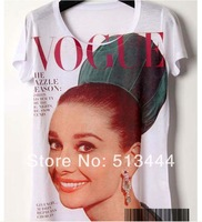 New Vintage Retro Cool Rock&Roll Punk T-shirt Top Tee Vogue I am Your Angel Audrey Hepburn+Track Ship