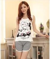 2014 new cotton lovely cartoon girl pajama sets / women sleepwear cute women pajamas girl nightgown peignoir Free shipping