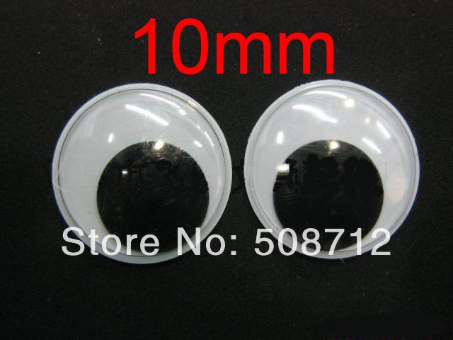 Free Ship!! Diy manual toy eyes ------200pcs 10mm Black and White Goo Goo Eyes, Wibbly Wobbly, Moving Eyes(China (Mainland))