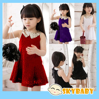 Free Shipping Girls Brand New Vestido Dress Lace Girls Sequin Red Princess Dress Girls Party Elegant Summer Dresses New In 2014