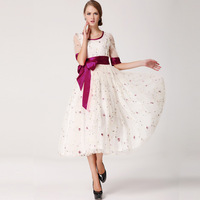 2014  half sleeve color block silk belt gauze rose one-piece dress