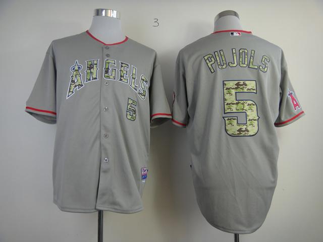 Top Mem's Los Angeles Angels Jersey Cool Base Baseball Jersey Embroidery Multi Logos #5 Albert Pujols Gray jersey 0346(China (Mainland))