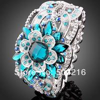 High Quality Austrian Crystal Rhodium Promotion Fashion Imitation Diamond Flower Bracelets & Bangles