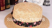 Free shipping(6 pieces/pack) Hot sale! New design for Women bowknot straw hat/sun hat/beach hat 56cm