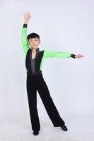 2014 New Arrival Kid Boy Glitter Latin Perform Suit (top+pants) 4~15T Custom-size Child Cha-Cha Modern Dancewear 2Styles