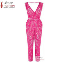 2014 New Fashion sexy Ladies Lace Sleeveless Lucy Mech Red Jumpsuits Deep V neck sexy Rompers