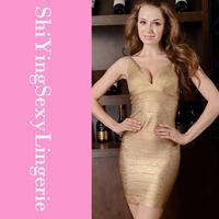 Gold V-neck Foil Detail Crisscross Bandage Dress LC28076+ free ship new arrival new fashion summer women dress