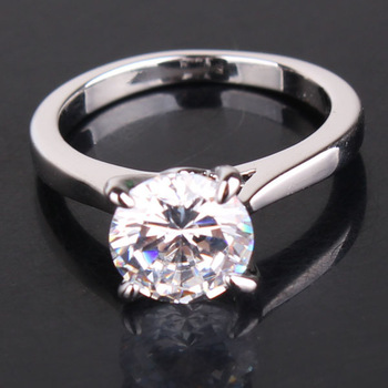 MinOrder$10 18K Белый Золото plated Round Cut Белый Crystal Cubic Zirconia Engagement ...