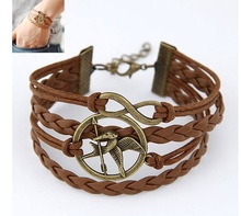 Min. order $10(Mix order) New 2014 Fashion Charms Cupid leather bracelet  for women ACO1115