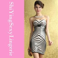 Fashion Geometric Strapless Tight Sheath Party Bandage Dress LC28069 free ship new arrival new fashion summer women dress