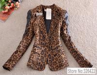 Autumn Winter Outerwear Fashion Pu Leather Patchwork Leopard Print Plus Size Coat Suit Jacket Blazer Women Branco Feminino 2014
