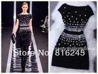 Bodycon Dress With Beaded Panel slim look OL dress S-XL